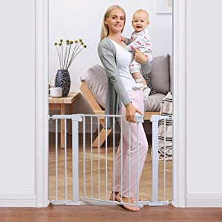 Cumbor 40.6� Auto Close Safety Baby Gate, Durable Extra Wide Child Gate for Stairs,Doorways, Easy Walk Thru Dog Gate for House. Includes 4 Wall Cups, 2.75-Inch and 5.5-Inch Extension, White