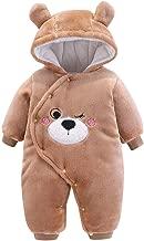 Gallity Newborn Infant Baby Boys Girls Winter Fleece Snowsuits Cartoon Bear Ear Velvet Hooded Thick Warm Outerwear Clothes 0-12 Month (6-9 Months, Brown)
