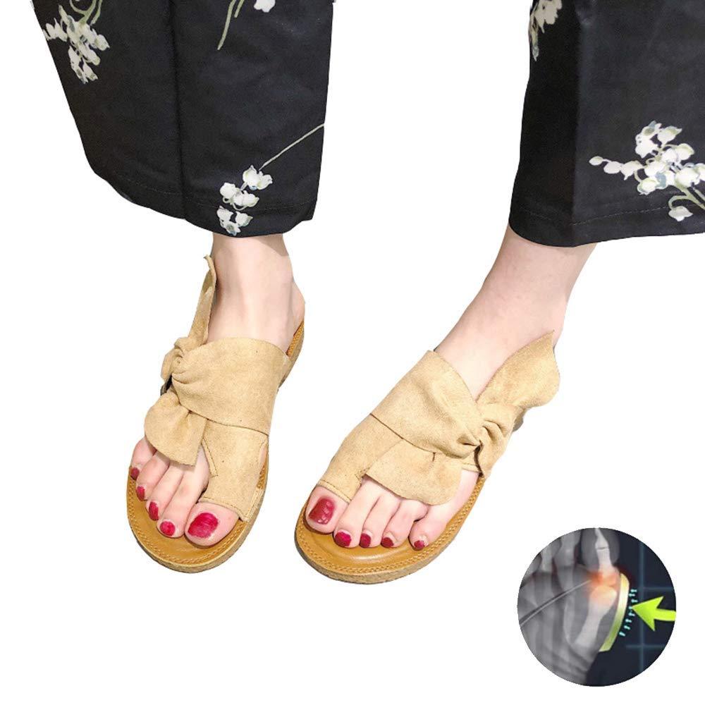 GRASSAIR Sandalias de Mujer, Zapatos de corrección de Dedo Gordo del pie, Zapatillas de Cuero de la PU del Verano del Viaje de la Playa Juanete Corrector Cuidado de los pies Zapatos,Khaki,37: