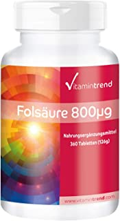 Ácido fólico 800mcg – ¡bote para 1 AÑO! – Alta dosificación – Vegano – Sustancia pura – Vitamina B9 – Para el embarazo