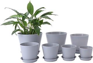 Genenic Pack of 7 Planters Flower Pot, 8/7/6/5.5/5/4.5/4Inch Plastic Flower Pots Indoor Decorative,Patio Garden with Drain...