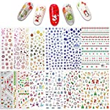 Adesivi per nail art natalizi Ebanku 12 fogli, design 3D Adesivi per unghie autoadesivi per decorazioni per unghie di Natale e Capodanno Accessori
