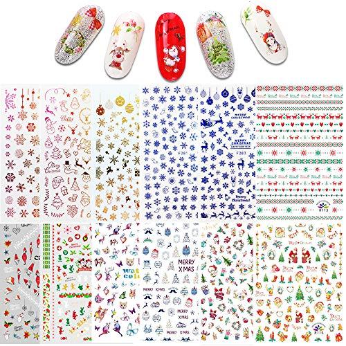 Ebanku Weihnachten Nail Art Sticker Decals 12 Blatt, 3D-Design selbstklebende Nagelsticker für Weihnachten & Neujahr Nageldekorationen Zubehör