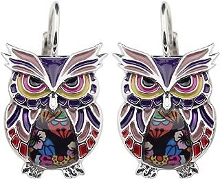 NEWEI Enamel Alloy Anime Owl Parrot Earrings Studs French Clip Dangle Fashion Bird Jewelry For Women Kid Girls Gifts