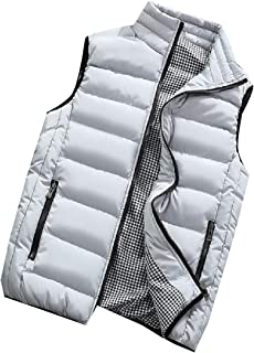 Mens Casual Plus Size Solid Stand Collar Warm Padded Quilted Puffer Vest Jacket Coat