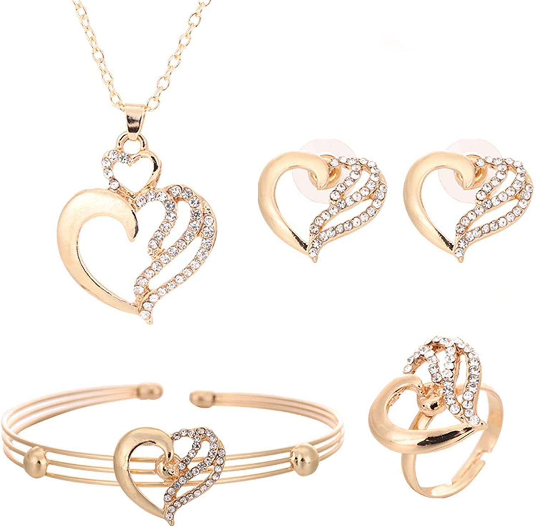 4 Pcs/Set Heart Pendant Necklace Crystal Stud Earrings Shiny Heart Bracelet Love Heart Rings Set Cubic Zirconia Love Heart Couple Jewelry Gift Set Classic Heart Jewelry Set for Women Girls