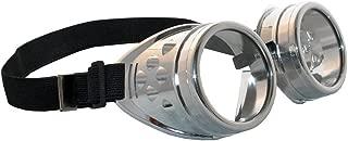 Chrome Costume Aviator Minion Style Goggles in Silver