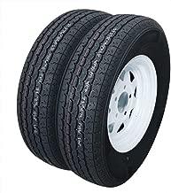 Set of 2 Trailer Tires ST175/80R13 175 80 r13 Trailer Tire 5-Lug White Spoke