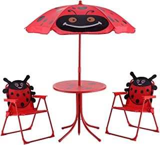 USA_BEST_SELLER Kids Patio Folding Table and Chairs Set Beetle with Umbrella Outdoor Furniture