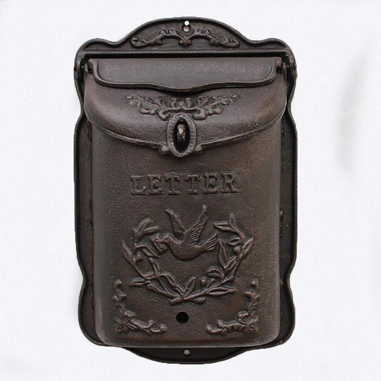 水陸両用あたり聞くクラシック防水壁は鋳鉄のメールボックスを装備されたパーソナライズされたメールボックス9.84x4.01x15.35in / 8.07x14.56x厚い3.14inをロック (Color : Cast Iron B)