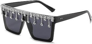 NBJSL Gafas de sol cuadradas con diamantes de imitación para mujer, gafas de sol protectoras Uv para mujer, embalaje de regalo exquisito