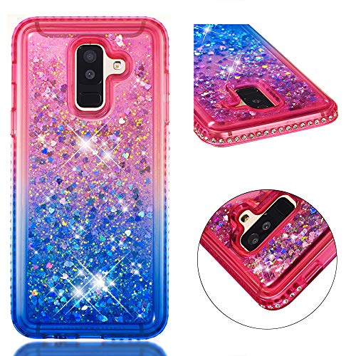 COZY HUT Custodia Samsung Galaxy A6 Plus Glitter Cover,Brillantini Diamond Morbido Silicone Sabbie Mobili Bumper Case per Custodie Samsung Galaxy A6 Plus - Gradiente Blu Rosa