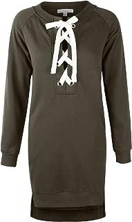 makeitmint Women's Lace Up Long Sleeve Fleece Sweatshirt Dress Top [6 Colors]