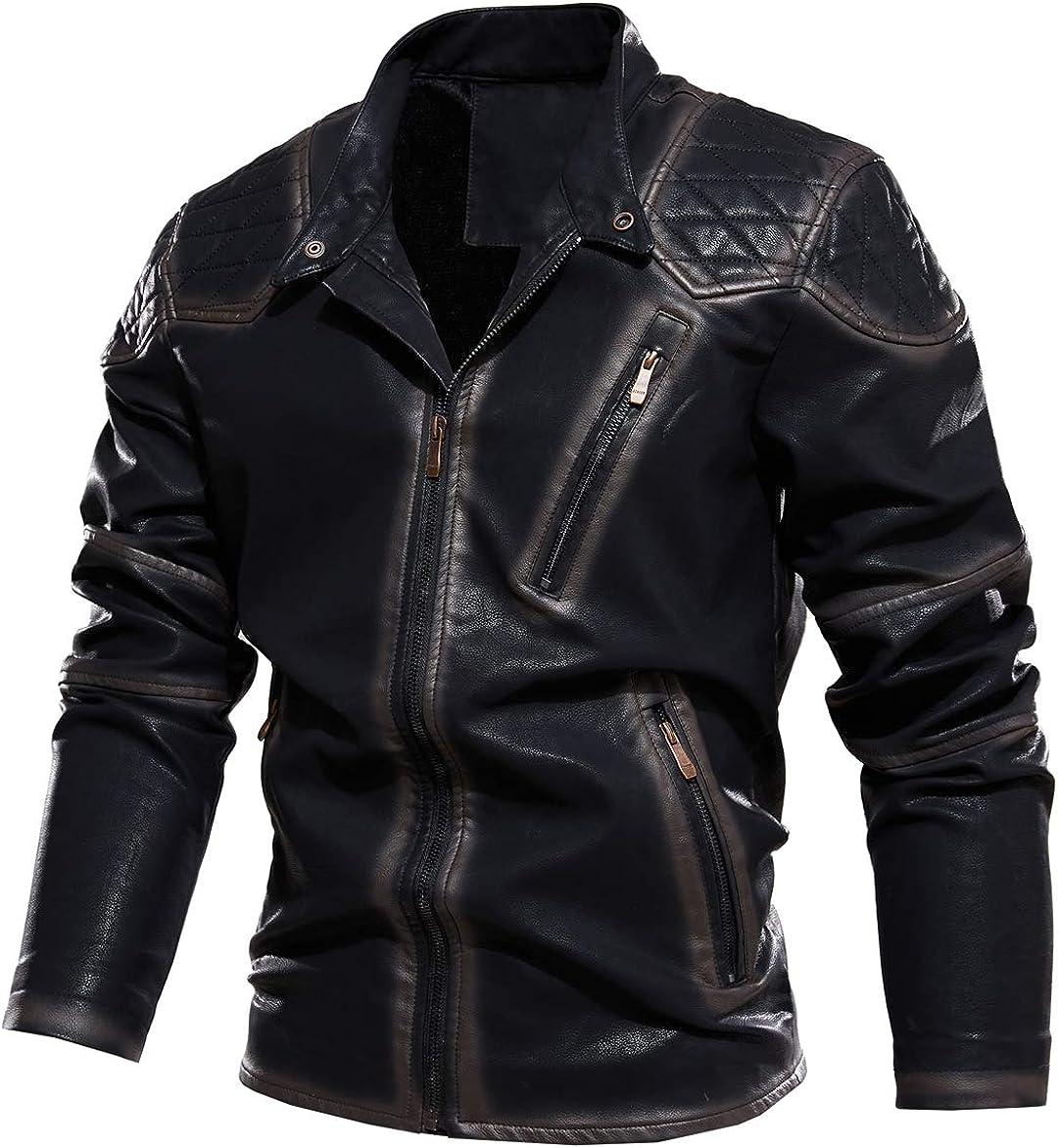 chouyatou Men's Vintage Contrast Fleece Lined Zip Front Distressed Pu Leather Quilted Biker Jacket