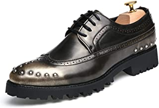 Shoes for Men Men's Business Oxford Casual Personality Rivet Thick Bottom with Cowhide Leather Brogue Shoes Casual Shoes