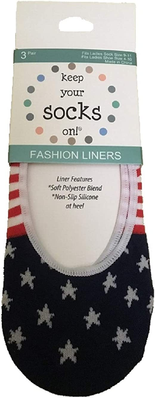 Legale Keep Your Socks On Fashion Liners Red White Blue O/S