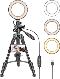 Neewer 6-inch LED Ring Light with Tripod Stand and Phone Holder Clamp for Live Stream Makeup Selfie YouTube Video Shooting with 3 Light Mode, 11 Brightness Level, Adjustable Aluminum Alloy Tripods