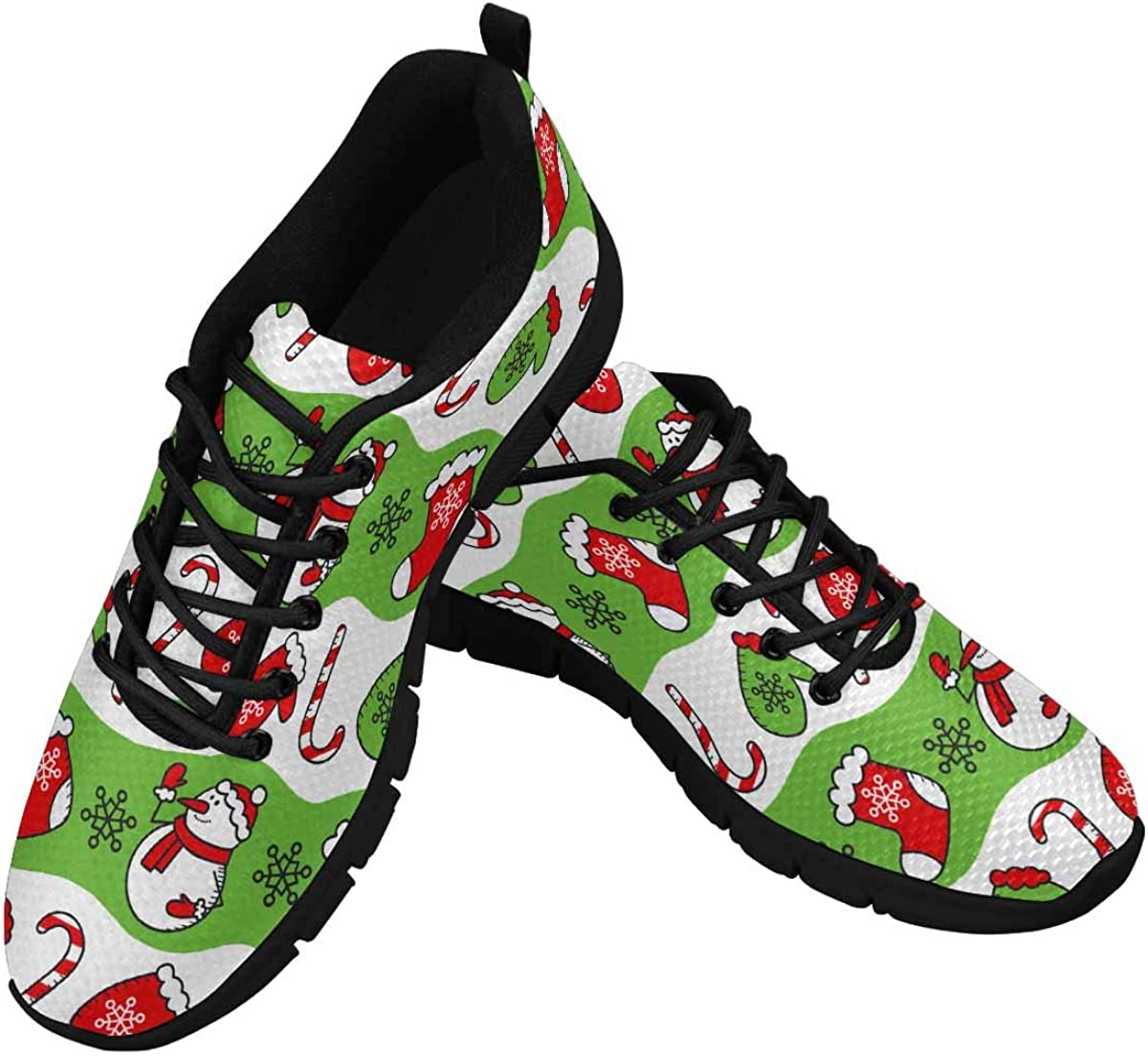 INTERESTPRINT Gingerbread, Candy and Snowflakes Women's Athletic Walking Running Sneakers Comfortable Lightweight Shoes