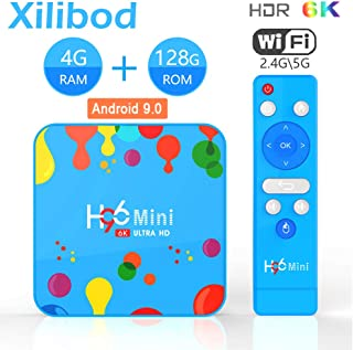 Xilibod H96 Mini Android 9.0 TV Box, 4GB RAM+128GB ROM, Allwinner H6 Quad Core 64-bit ARM Cortex-A53, High-Performance Multi-core GPU Mali T720, 2.4G/5G WiFi,HDMI 2.0a for 4k@60Hz Smart Box