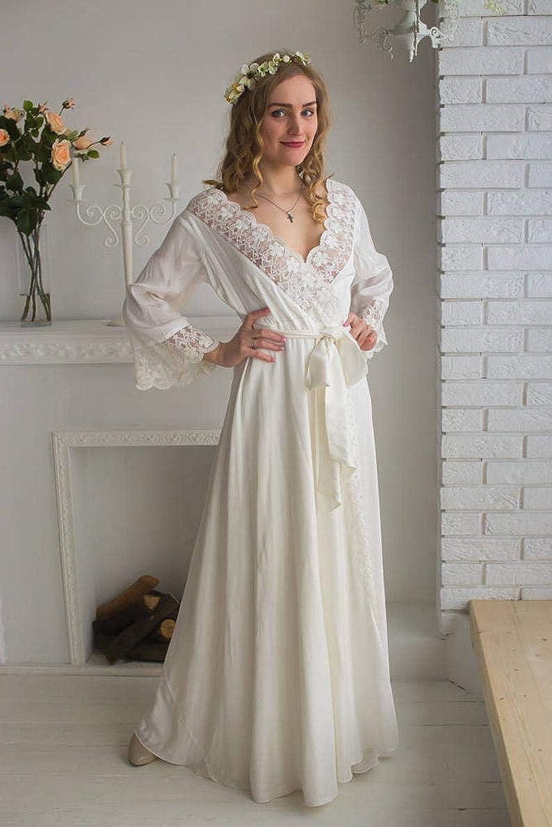 BathGown Women's Cotton Lace Bridal Robe for Wedding Day Doudoir Lingerie Bridal Honeymoon