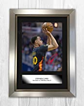 Engravia Digital Stephen Curry (2) NBA Golden Sate Warriors Reproduction Autograph Poster Photo A4 Print(Silver Frame)