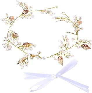 niumanery Bridal Leaf Faux Pearl Crystal Tiara Headband Wedding Bridesmaid Prom Party Chic