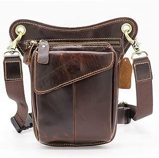 YWSCXMY-AU Genuine Leather Casual Multi-Functions Bag Men's Leg Thigh Waist Gun Pack Tool Kit Organizer Shoulder Messenger Bag (Color : Coffee)