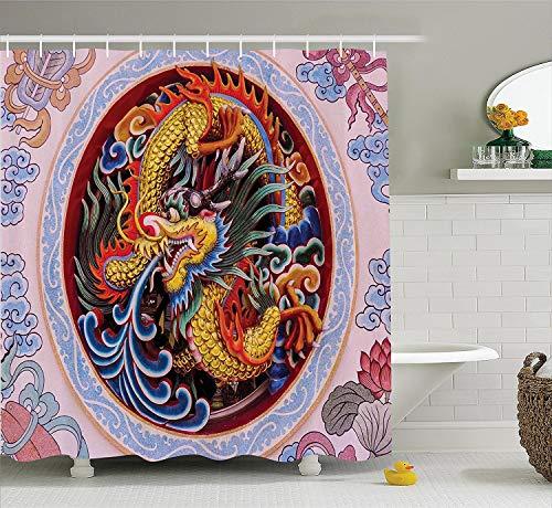lovedomi Dragón chino conjunto con crin y garra flor decoración mitológica monstruo poliéster impermeable cortina de ducha antigua oriental animal accesorio de baño 72 x 72 pulgadas