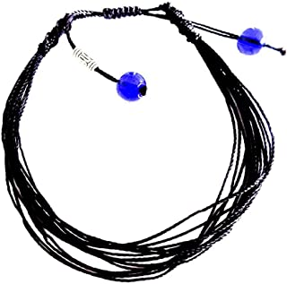 Surfing String Friendship Bracelet Medium 6.5-8.5 Inches Black Macrame with Sea Glass Beads Adjustable Knots Unisex BFF Couples Beach Surf Gift Under 10 Dollars