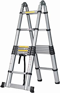 Good Life 16.5 FT EN131 Professional Folding Aluminum Multi Purpose Telescoping Ladder Extension Extendable Ladder with Spring Loaded Locking Non-Slip HMI419