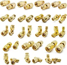 ALLiSHOP SMA Connectors kit 18 Type SMA RP-SMA Adapter Plug and Jack Straight and 90° SMA Connector Goldplated Brass RF Co...