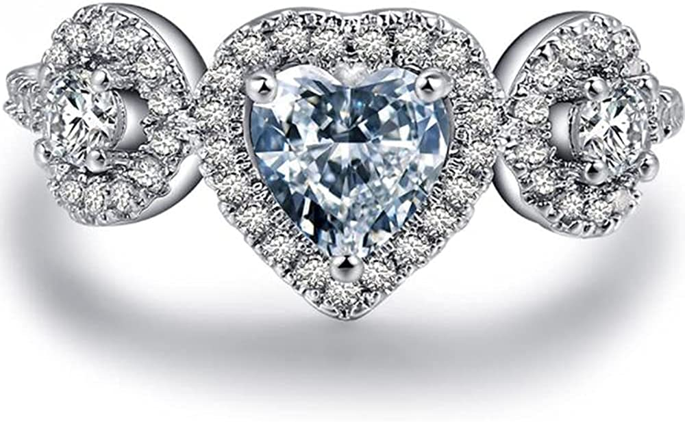 White Gold Plated Cheap super special price Three Stone Max 71% OFF Wedding Heart Shaped Engagement Pr