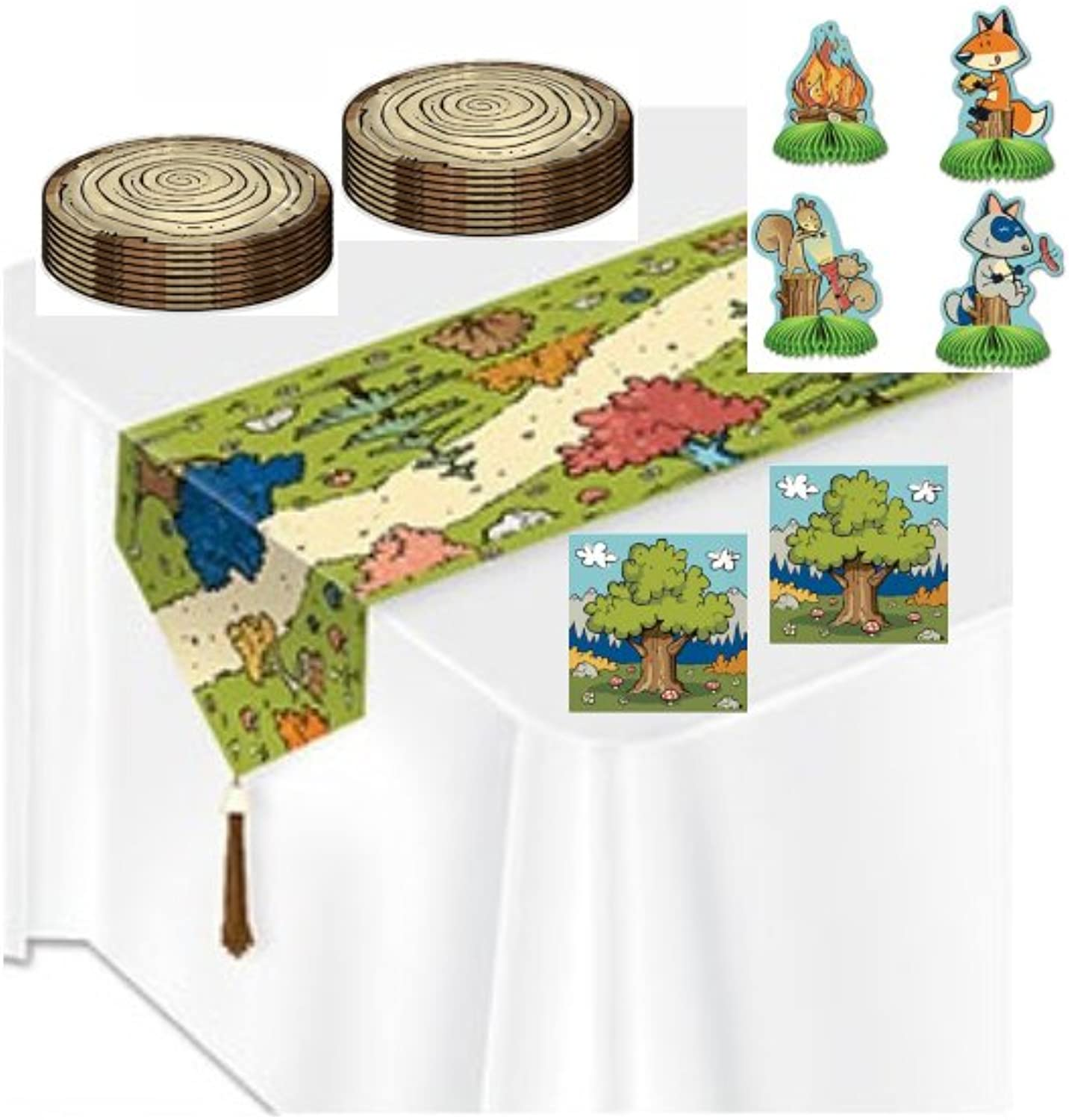 Enlightening Minds Woodland Friends Party Supplies - Centerpieces - Table Runner - Plates - Napkins