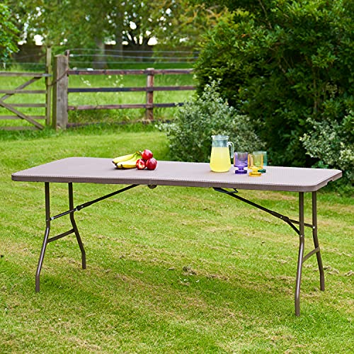 SA Products Rectangular 6ft Folding Table - Dining Furniture for BBQ, Picnic, Camping - Rattan Effect Design - Bistro-Style Outdoor Table for Garden, Patio, Backyard - 180x74x74cm, Brown & Granite
