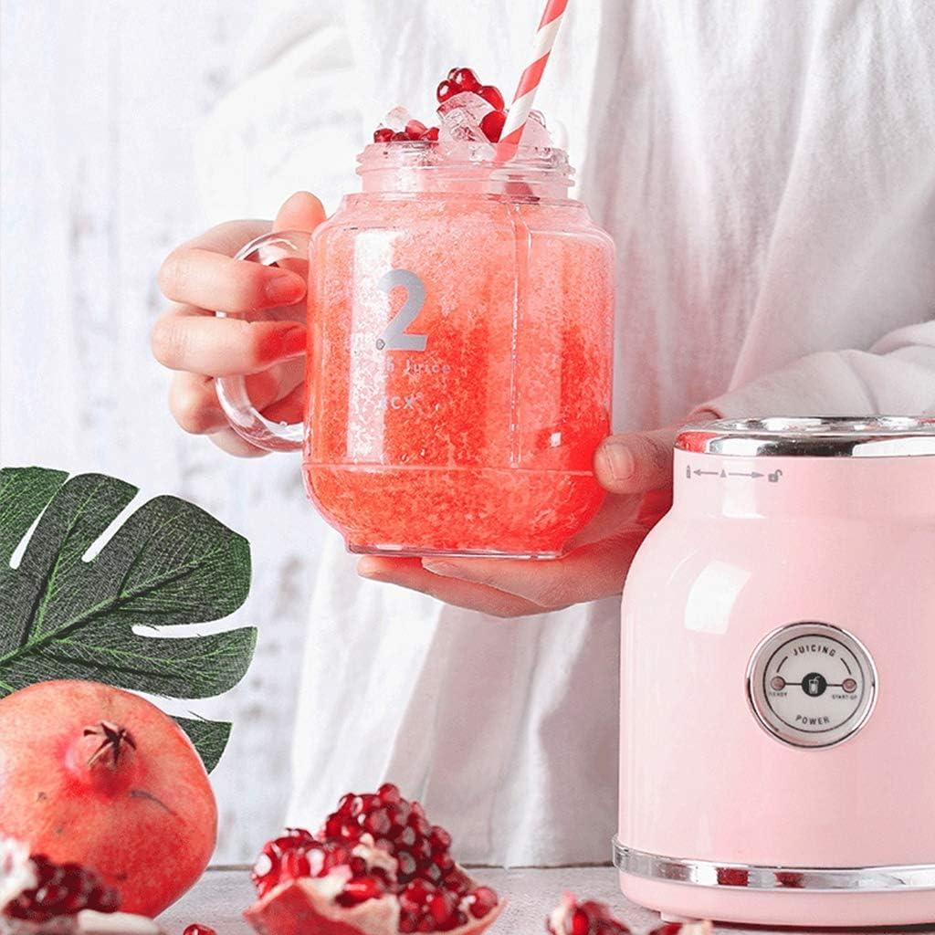 Sweet Licuadora De Jugo, Exprimidor De Frutas, Retro Mezclador De Batidos De Alimentos, Máquina De Hacer Jugos Multifunción Licuadora De Frutas Portátil,Blanco Pink