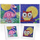 2 Pack DIY 5D Diamond Paste Painting by Number Kit for Children,MWOOT Full Drill Diamond Dots Cross Stitch Beginners Art Crafts Kits,Kids Gift for Home Wall Decor 12x12CM (Flamingo + Owl)