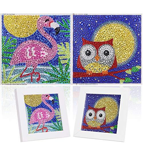 2 Piezas DIY 5D Niños Diamante Pintura Kits Pinturas por Numeros,MWOOT 5D Diamond Pasted Painting Completo,Bordado Punto de Cruz Diamante Manualidades (12x12CM,Flamenco + Búho)