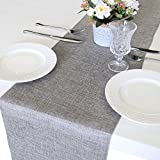 ARKSU Gray Burlap Table Runner 12 x 108 Inch Imitated Linen Wrinkle-Free for Wedding/Bridal Party/Rustic Event