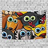 coosun grupo de animalitos gatos perros y ciervo tapiz Tapiz colgar en la pared decoración de la casa Decorarion para salón o dormitorio de dormitorio, 60'x40', tela, multicolor, 60x40(in)