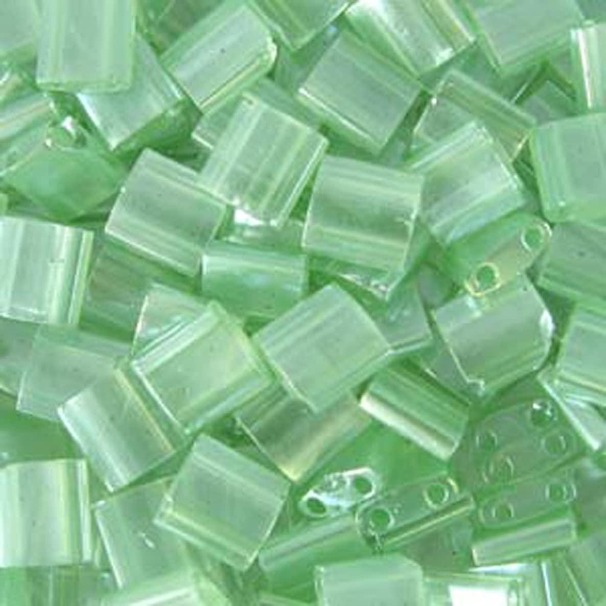 SEA Foam Green Luster Tila Beads 7.2 Gram Tube By Miyuki Are a 2 Hole Flat Square Seed Bead 5x5mm 1.9mm Thick with .8mm Holes