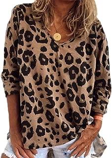 Womens Basic Leopard Print Shirts Tunics V Neck Comfy Tops Long Sleeve Blouse