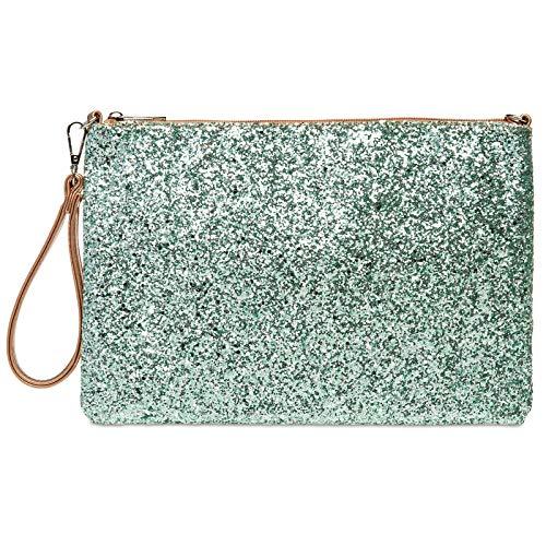 Caspar TA341 große Damen XL Glitzer Pailletten Clutch Tasche Abendtasche mit Handschlaufe, Farbe:mint/rosegold, Größe:One Size
