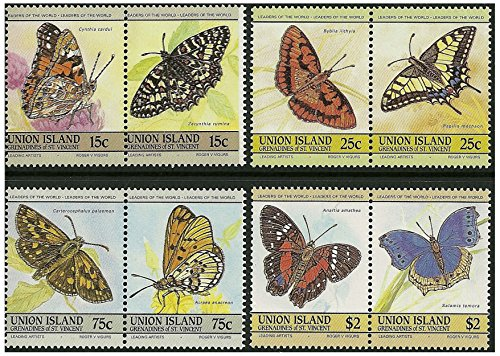 Vlinders stempelen paar - 8 merken in 4 paar SG194-197 1985 Union Island/Mint en post