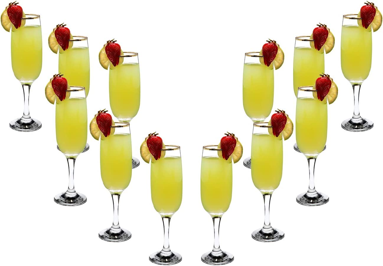 Romantic Flute Stemmed Glasses for Cocktails Gold Rim oz Se Purchase 8.25 Max 68% OFF