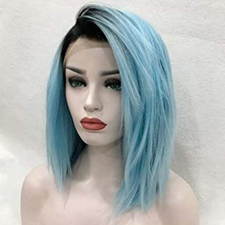 14'' Lace Front Short Wig Luckyfine Natural Ombre Blue Straight Synthetic Full Wig,Short Straight Bob Hair for Women Daily Use Stylish Cosplay Party with Natural Hairline & Looking
