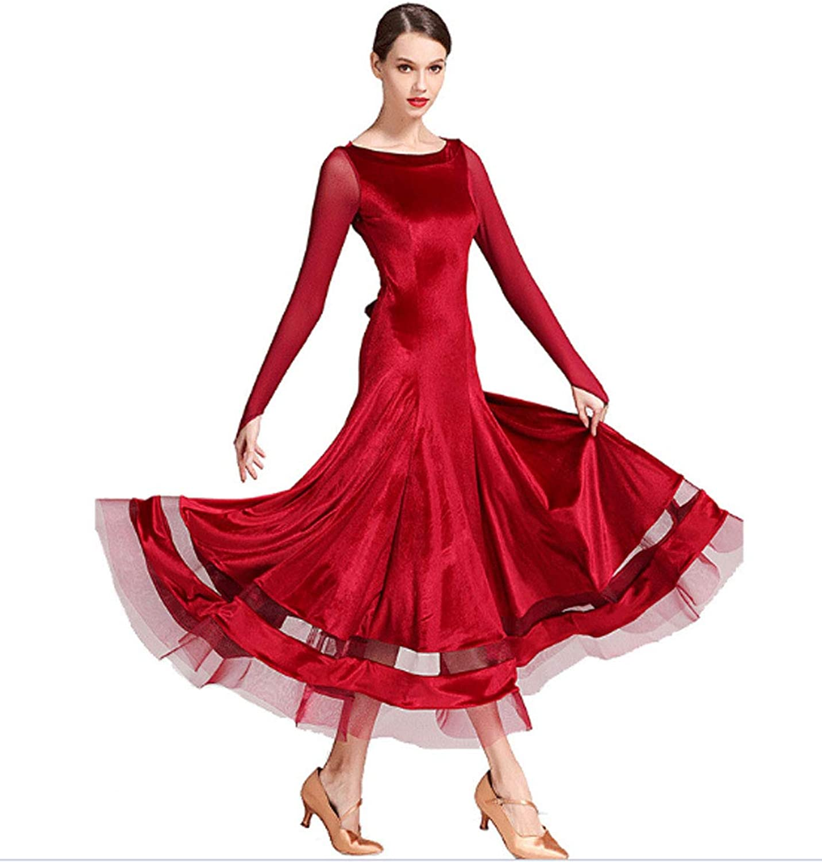 CHAGME Velvet Long Sleeve Latin Dress Waltz Dress Ballroom Dress Tango Dress