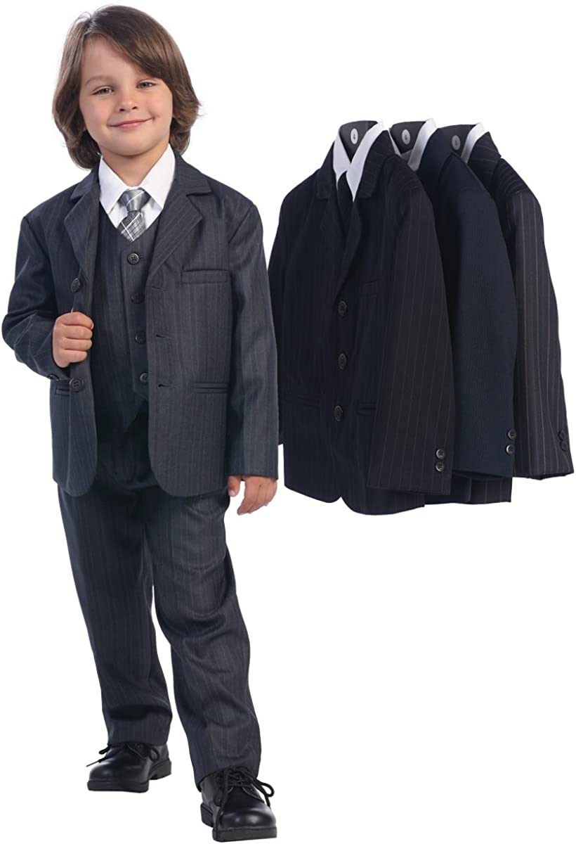 5 Piece Dark Gray Pin-Striped Suit with Silver Tie