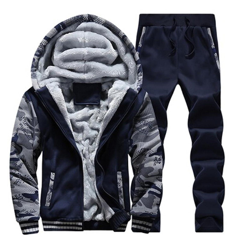 ieasonメンズトラックスーツ暖かいフリーススポーツフード付きスウェットシャツコートパーカー+パンツSweat Suit (M,ブルー)
