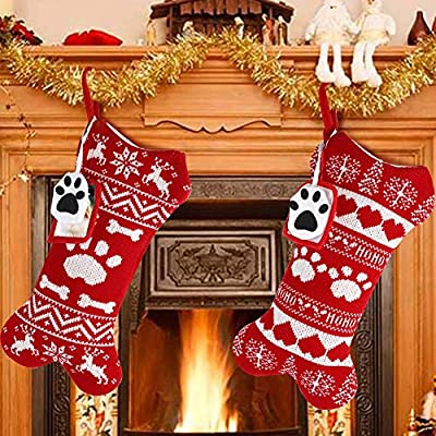 OurWarm 2pcs Pet Dog Christmas Stockings, Large Bone Shape Knit Christmas Stockings with Picture Frame, Large Bone Shape Pet Stockings for Christmas Decorations
