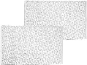 mDesign Soft 100% Cotton Luxury Hotel-Style Rectangular Spa Mat Rug, Water Absorbent, Diamond Design - for Bathroom Vanit...